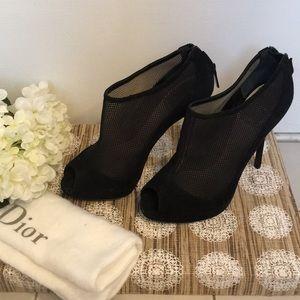 Christian Dior Suede Peep-Toe Booties (EU 37)